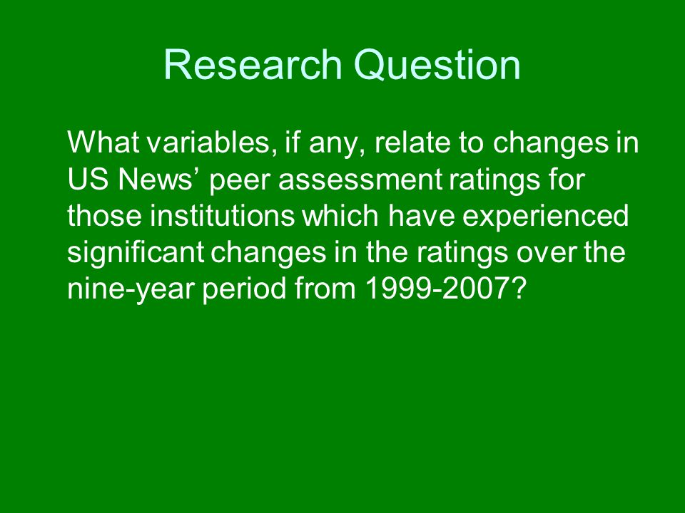 Research Question What variables, if any, relate to changes in US News peer assessment ratings for those institutions which have experienced significa