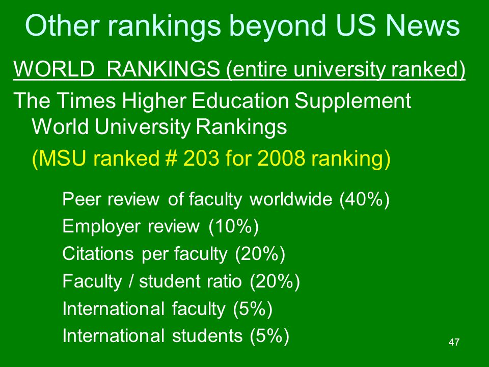 Other rankings beyond US News WORLD RANKINGS (entire university ranked) The Times Higher Education Supplement World University Rankings (MSU ranked #