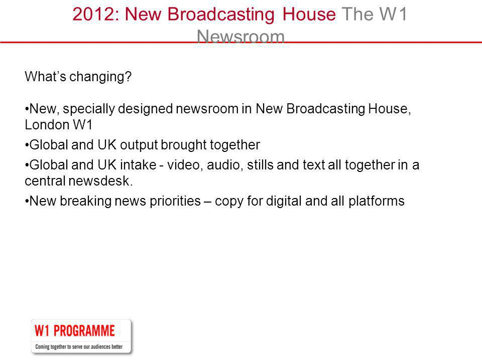 2012: New Broadcasting House The W1 Newsroom Whats changing.