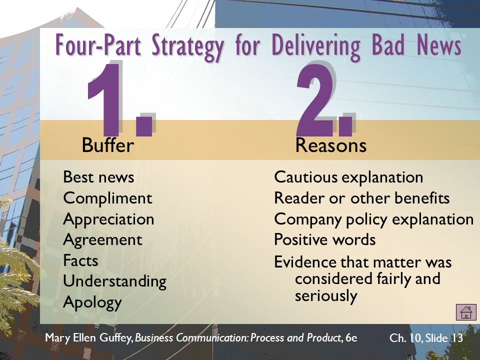 Mary Ellen Guffey, Business Communication: Process and Product, 6e Ch. 10, Slide 13 Cautious explanation Reader or other benefits Company policy expla