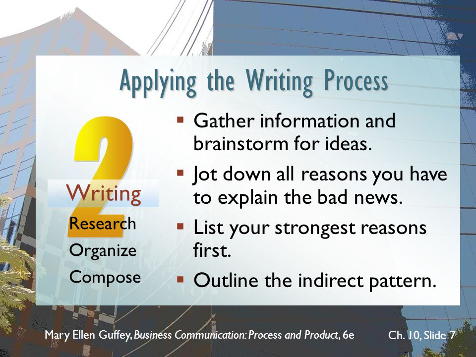 Mary Ellen Guffey, Business Communication: Process and Product, 6e Ch. 10, Slide 7 Applying the Writing Process Gather information and brainstorm for