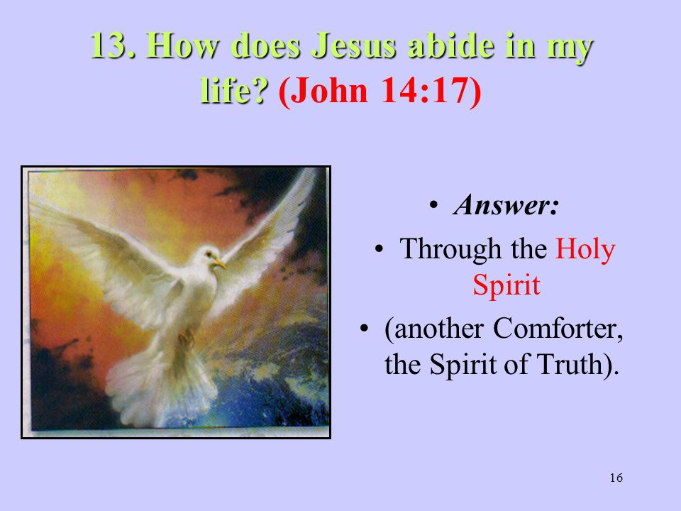 16 13.How does Jesus abide in my life. 13. How does Jesus abide in my life.