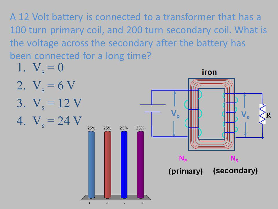 A 12 Volt battery is connected to a transformer that has a 100 turn primary coil, and 200 turn secondary coil.