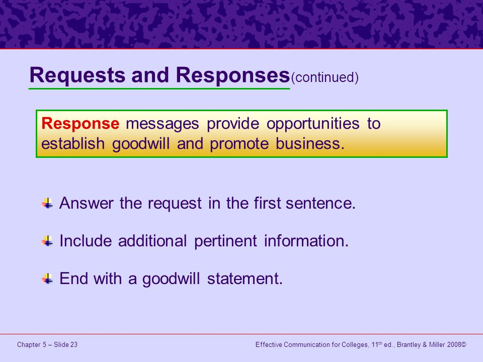 Effective Communication for Colleges, 11 th ed., Brantley & Miller 2008©Chapter 5 – Slide 23 Answer the request in the first sentence.