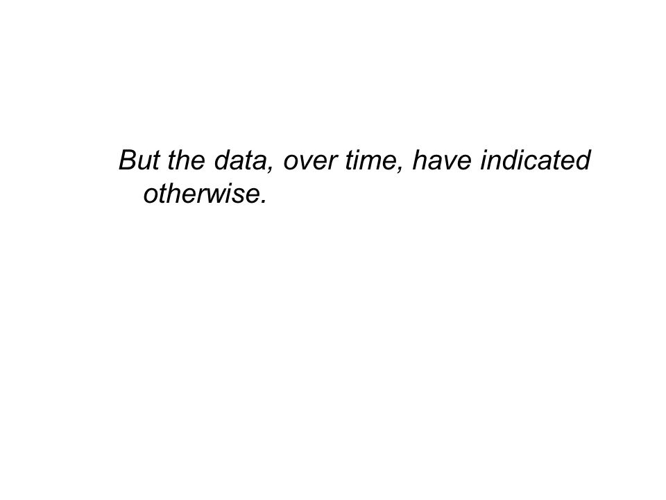 But the data, over time, have indicated otherwise.
