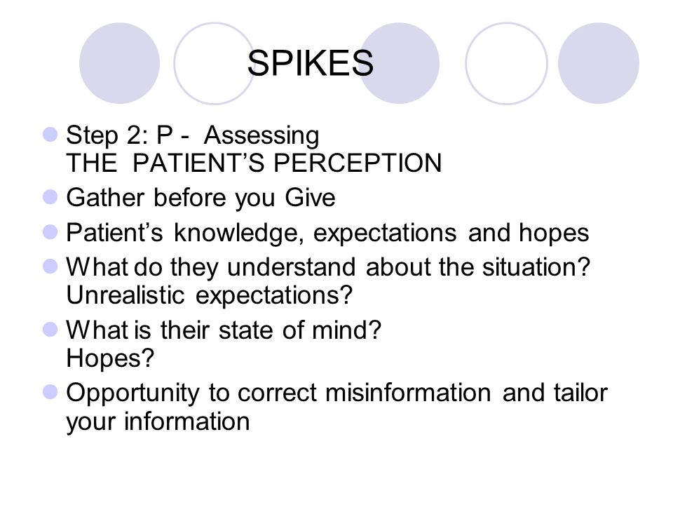 SPIKES Step 2: P - Assessing THE PATIENTS PERCEPTION Gather before you Give Patients knowledge, expectations and hopes What do they understand about t