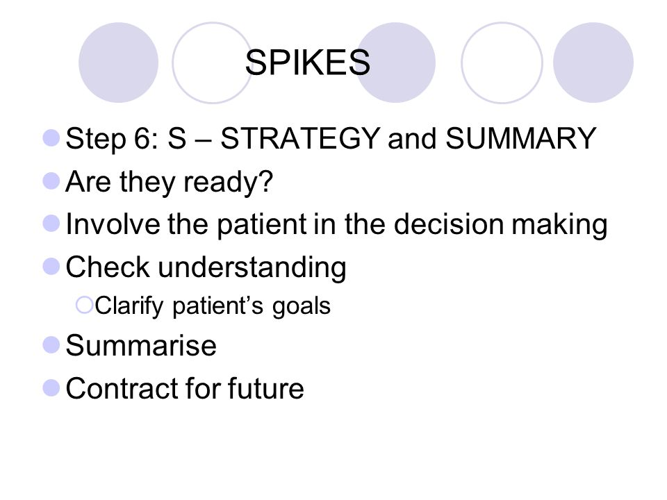 SPIKES Step 6: S – STRATEGY and SUMMARY Are they ready? Involve the patient in the decision making Check understanding Clarify patients goals Summaris