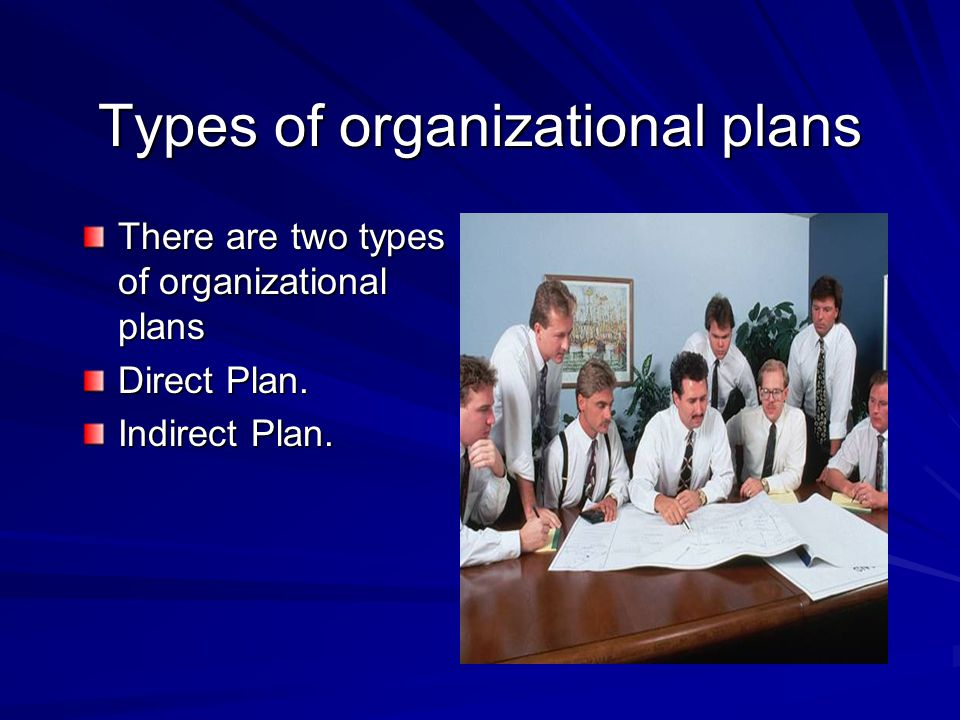 Types of organizational plans There are two types of organizational plans Direct Plan. Indirect Plan.