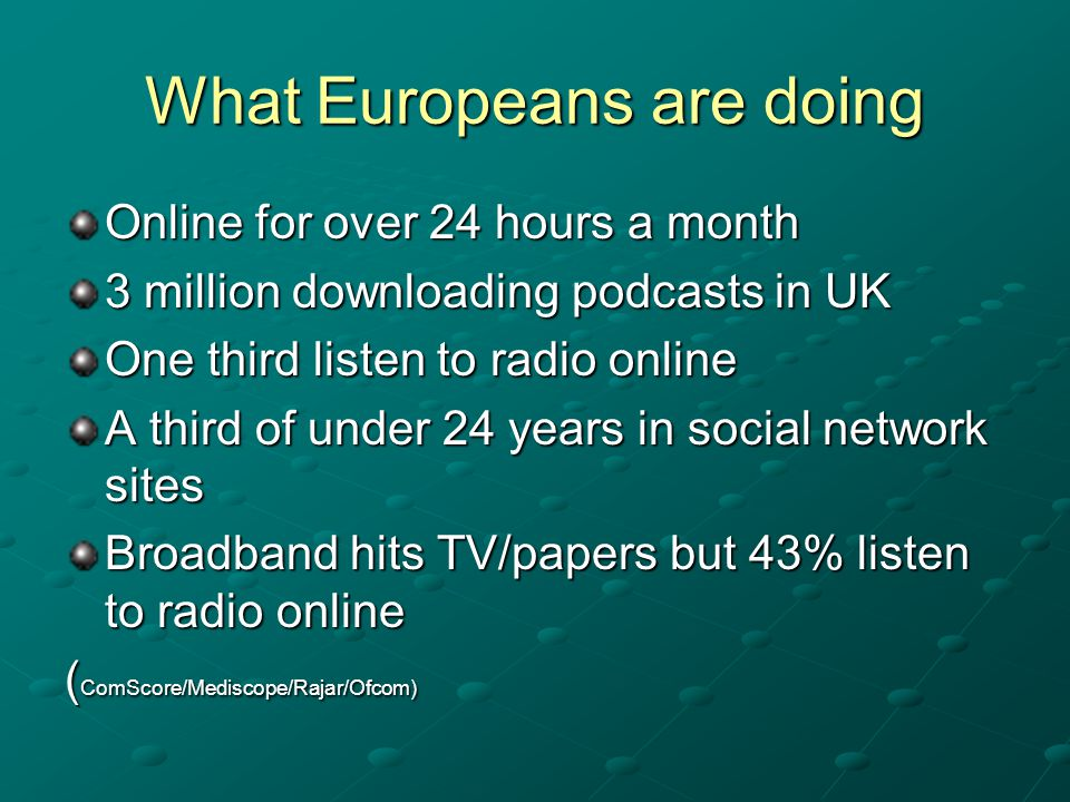 What Europeans are doing Online for over 24 hours a month 3 million downloading podcasts in UK One third listen to radio online A third of under 24 years in social network sites Broadband hits TV/papers but 43% listen to radio online ( ComScore/Mediscope/Rajar/Ofcom)