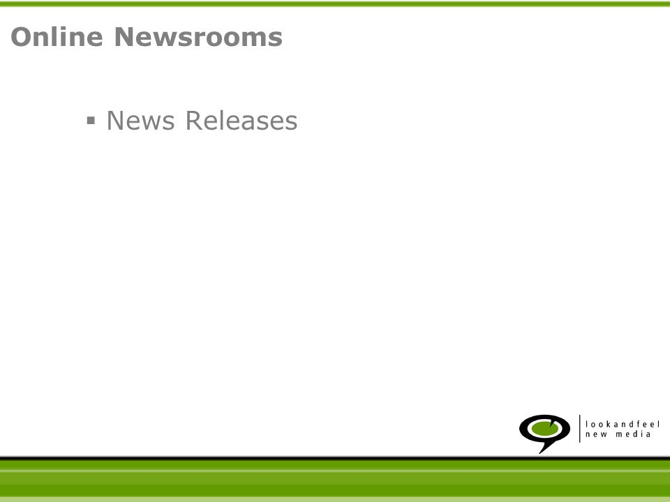 News Releases Online Newsrooms