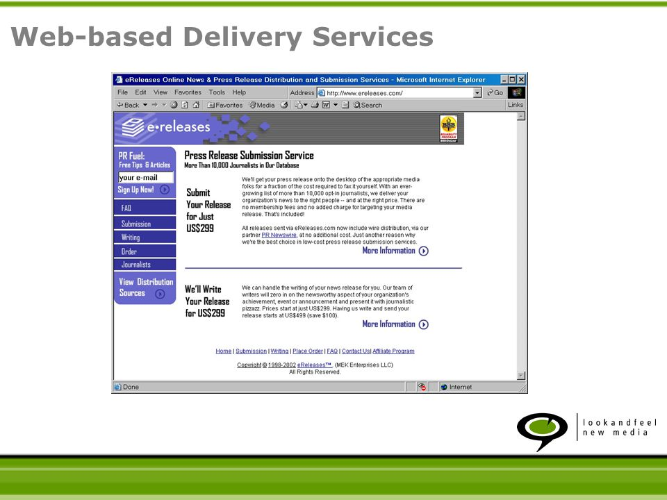 Web-based Delivery Services