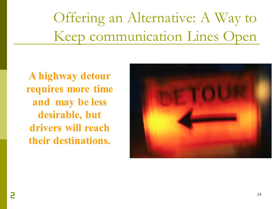 14 Offering an Alternative: A Way to Keep communication Lines Open A highway detour requires more time and may be less desirable, but drivers will rea