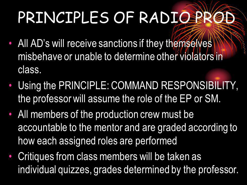 PRINCIPLES OF RADIO PROD All ADs will receive sanctions if they themselves misbehave or unable to determine other violators in class.