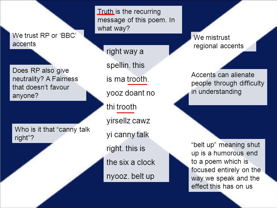 right way a spellin. this is ma trooth. yooz doant no thi trooth yirsellz cawz yi canny talk right. this is the six a clock nyooz. belt up Truth is th