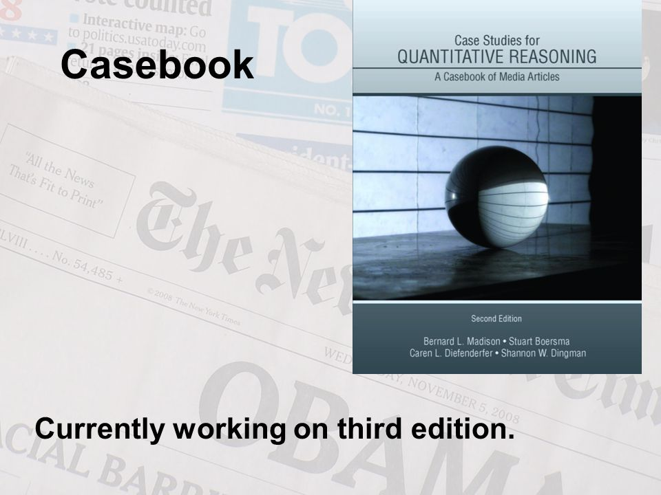 Casebook Currently working on third edition.