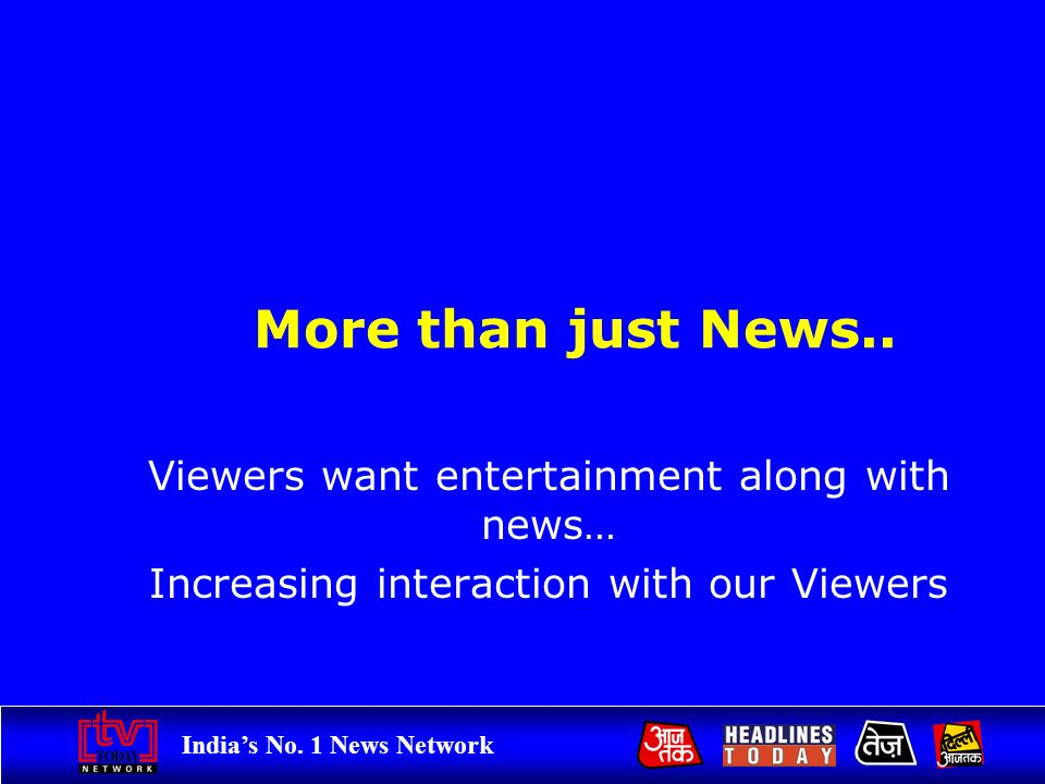 Indias No. 1 News Network Viewers bring out the best in us.. More than just News.. Viewers want entertainment along with news… Increasing interaction