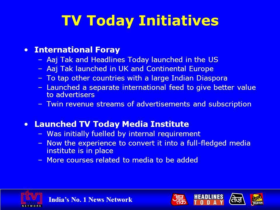 Indias No. 1 News Network TV Today Initiatives International Foray –Aaj Tak and Headlines Today launched in the US –Aaj Tak launched in UK and Contine