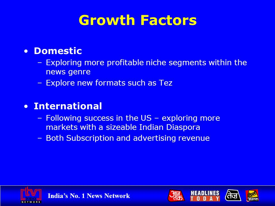 Indias No. 1 News Network Growth Factors Domestic –Exploring more profitable niche segments within the news genre –Explore new formats such as Tez Int