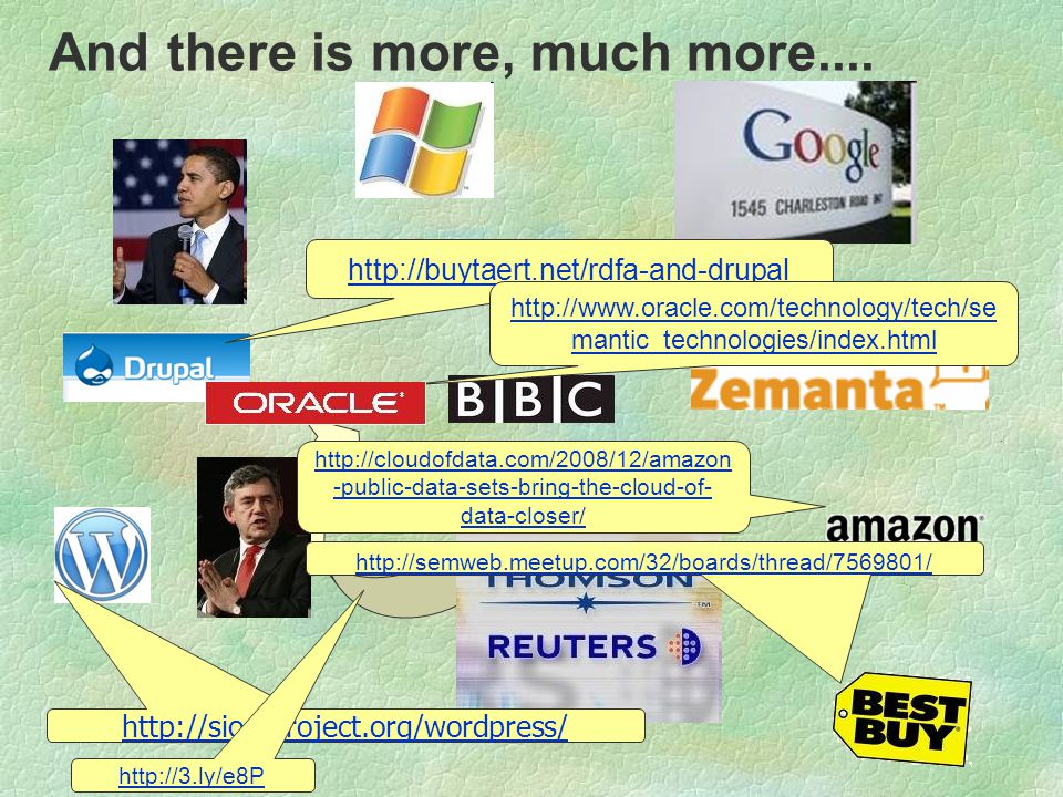 http://cloudofdata.com/2008/12/amazon -public-data-sets-bring-the-cloud-of- data-closer/ http://buytaert.net/rdfa-and-drupal http://sioc-project.org/w