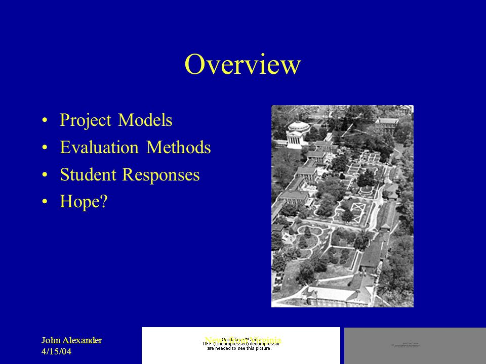 John Alexander 4/15/04 News from Virginia Overview Project Models Evaluation Methods Student Responses Hope