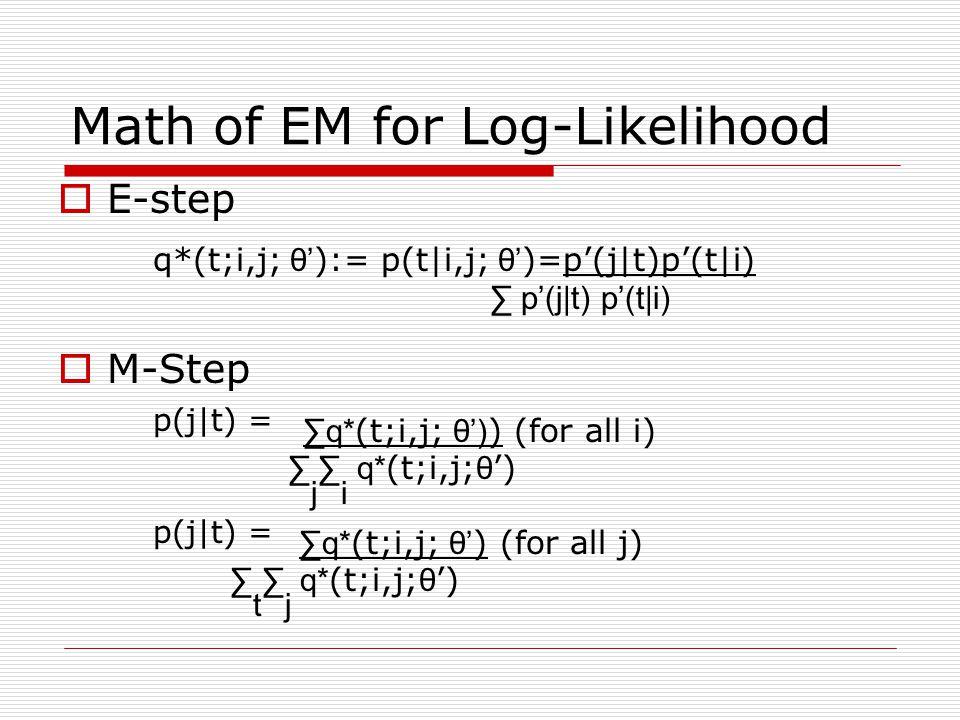 Math of EM for Log-Likelihood E-step q*(t;i,j; θ ):= p(t|i,j; θ )=p(j|t)p(t|i) p(j|t) p(t|i) M-Step p(j|t) = q* (t;i,j; θ) ) (for all i) j i q* (t;i,j; θ ) p(j|t) = q* (t;i,j; θ ) (for all j) t j q* (t;i,j; θ )
