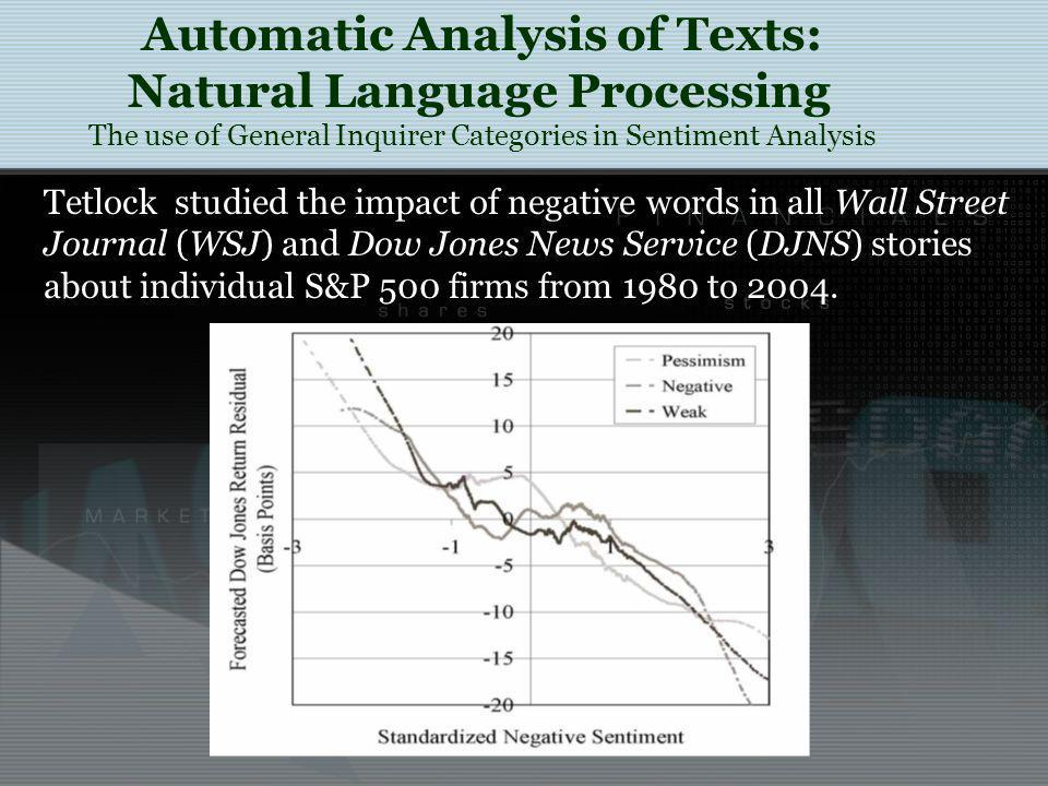Tetlock studied the impact of negative words in all Wall Street Journal (WSJ) and Dow Jones News Service (DJNS) stories about individual S&P 500 firms