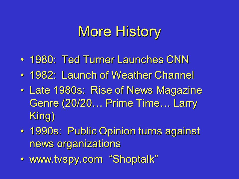More History 1980: Ted Turner Launches CNN1980: Ted Turner Launches CNN 1982: Launch of Weather Channel1982: Launch of Weather Channel Late 1980s: Ris