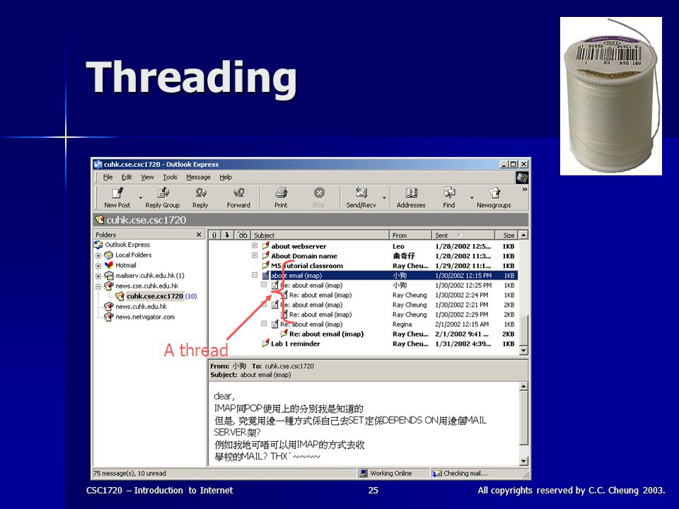 CSC1720 – Introduction to InternetAll copyrights reserved by C.C. Cheung 2003.25 Threading A thread