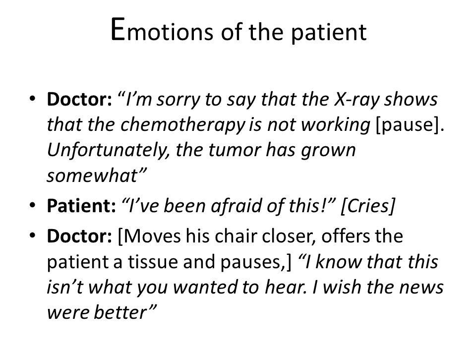E motions of the patient Doctor: Im sorry to say that the X-ray shows that the chemotherapy is not working [pause].