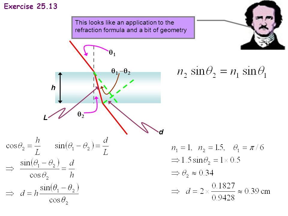 Exercise 25.13 This looks like an application to the refraction formula and a bit of geometry h Ld