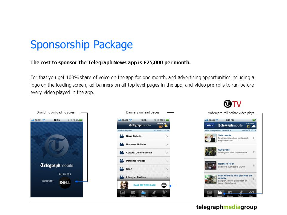 Sponsorship Package The cost to sponsor the Telegraph News app is £25,000 per month.