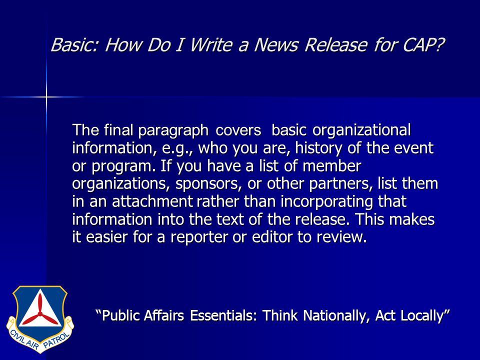 Basic: How Do I Write a News Release for CAP.