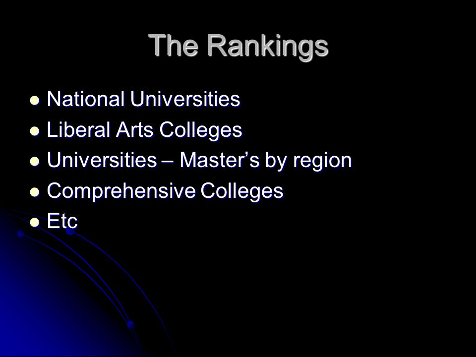 The Rankings National Universities National Universities Liberal Arts Colleges Liberal Arts Colleges Universities – Masters by region Universities – Masters by region Comprehensive Colleges Comprehensive Colleges Etc Etc