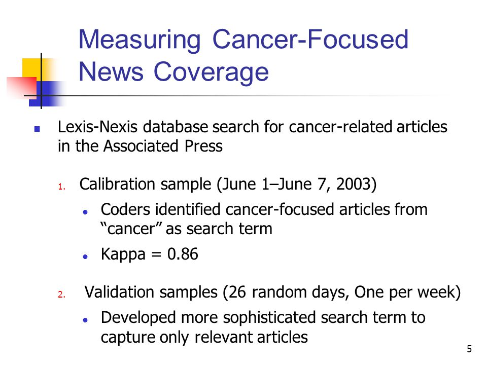 5 Measuring Cancer-Focused News Coverage Lexis-Nexis database search for cancer-related articles in the Associated Press 1.