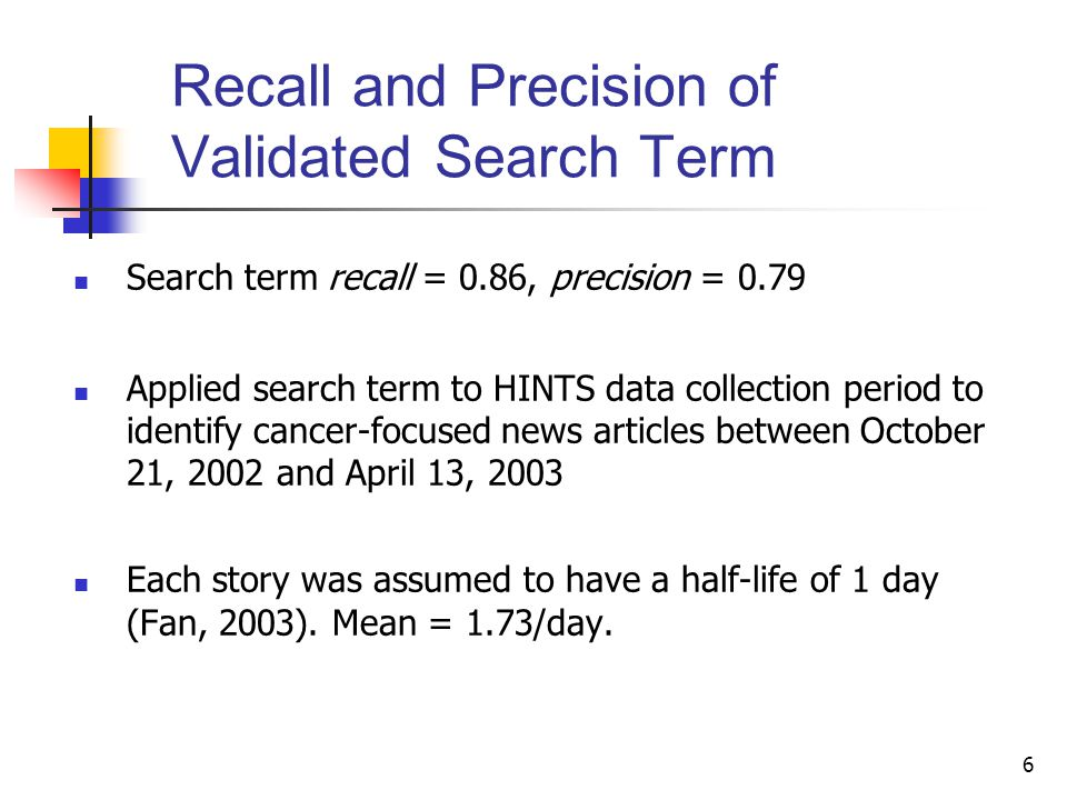 6 Recall and Precision of Validated Search Term Search term recall = 0.86, precision = 0.79 Applied search term to HINTS data collection period to identify cancer-focused news articles between October 21, 2002 and April 13, 2003 Each story was assumed to have a half-life of 1 day (Fan, 2003).