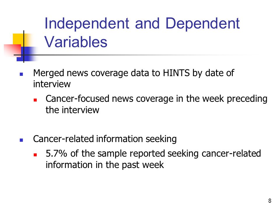 8 Independent and Dependent Variables Merged news coverage data to HINTS by date of interview Cancer-focused news coverage in the week preceding the interview Cancer-related information seeking 5.7% of the sample reported seeking cancer-related information in the past week