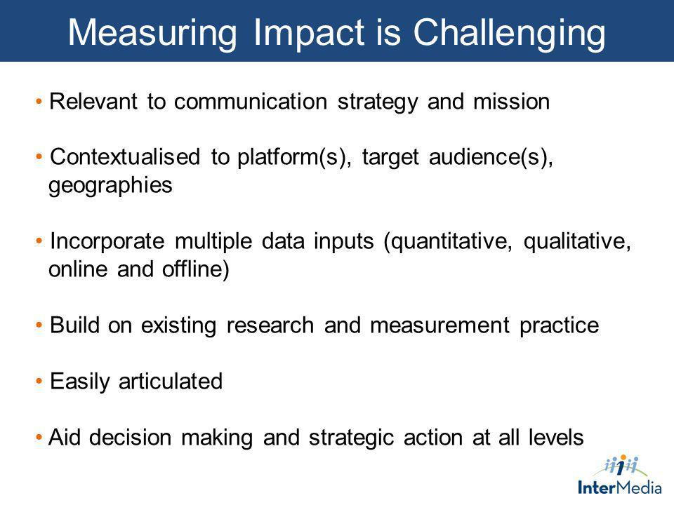 Measuring Impact is Challenging Relevant to communication strategy and mission Contextualised to platform(s), target audience(s), geographies Incorpor