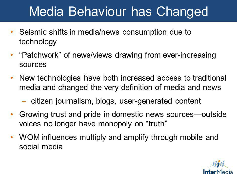 Media Behaviour has Changed Seismic shifts in media/news consumption due to technology Patchwork of news/views drawing from ever-increasing sources Ne