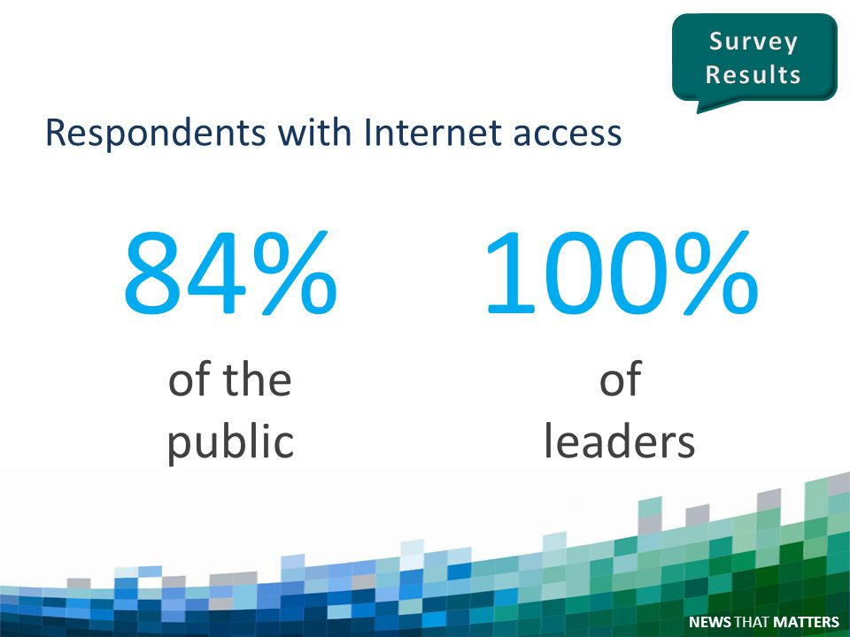 NEWS THAT MATTERS Respondents with Internet access 84% of the public 100% of leaders