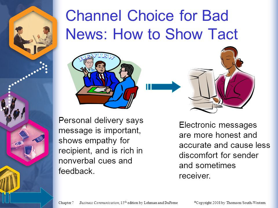 Channel Choice for Bad News: How to Show Tact Personal delivery says message is important, shows empathy for recipient, and is rich in nonverbal cues