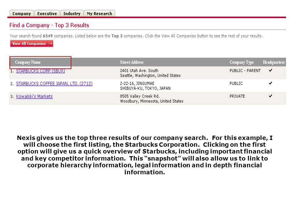 Nexis gives us the top three results of our company search.