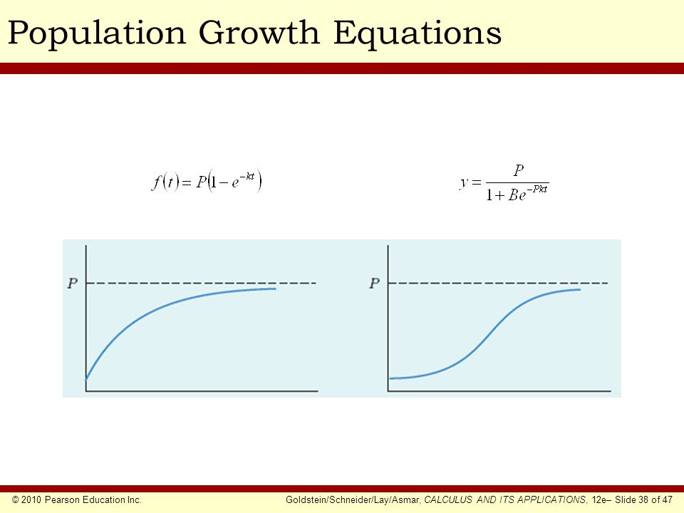 © 2010 Pearson Education Inc.Goldstein/Schneider/Lay/Asmar, CALCULUS AND ITS APPLICATIONS, 12e– Slide 38 of 47 Population Growth Equations