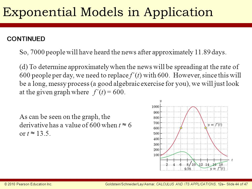 © 2010 Pearson Education Inc.Goldstein/Schneider/Lay/Asmar, CALCULUS AND ITS APPLICATIONS, 12e– Slide 44 of 47 Exponential Models in ApplicationCONTIN