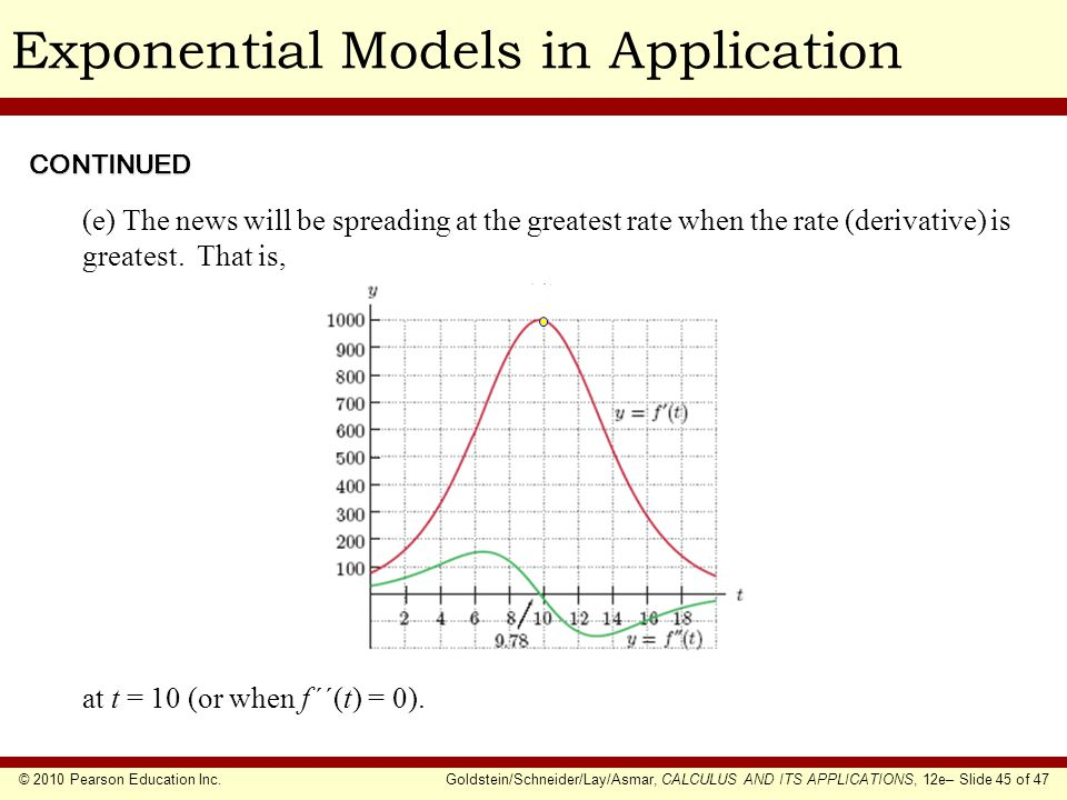 © 2010 Pearson Education Inc.Goldstein/Schneider/Lay/Asmar, CALCULUS AND ITS APPLICATIONS, 12e– Slide 45 of 47 Exponential Models in ApplicationCONTIN