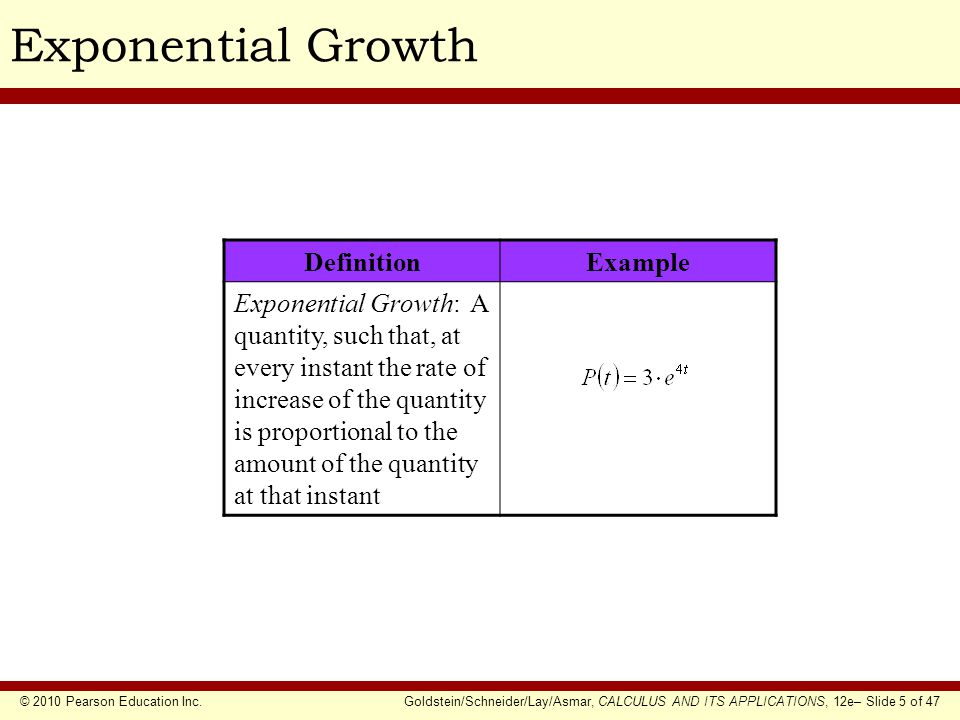 © 2010 Pearson Education Inc.Goldstein/Schneider/Lay/Asmar, CALCULUS AND ITS APPLICATIONS, 12e– Slide 6 of 47 Exponential Growth & Decay Model