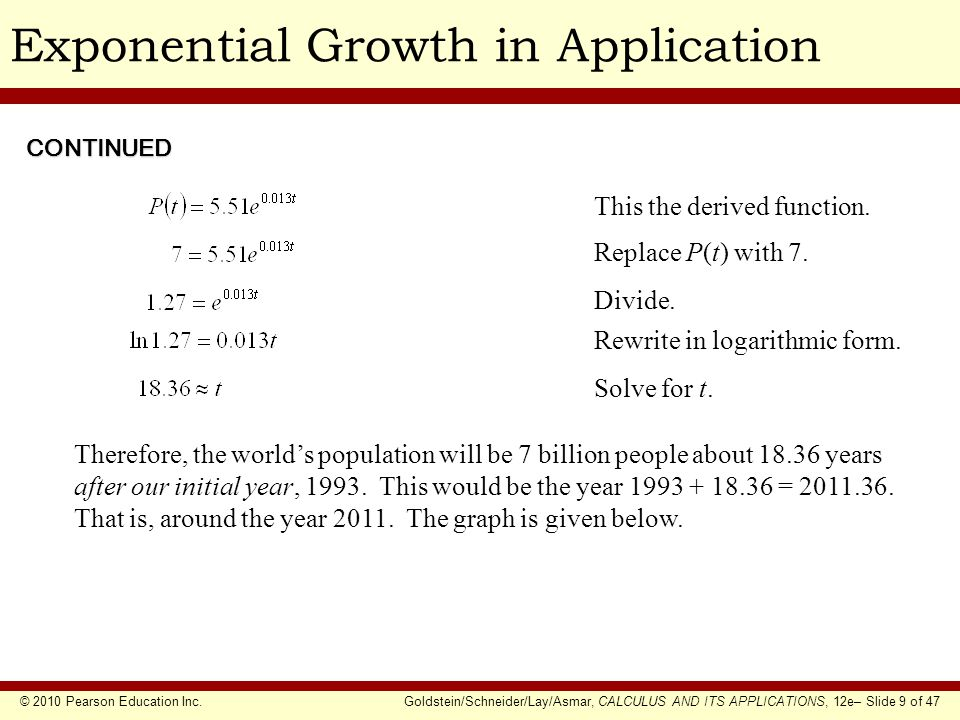 © 2010 Pearson Education Inc.Goldstein/Schneider/Lay/Asmar, CALCULUS AND ITS APPLICATIONS, 12e– Slide 30 of 47 Relative Rate of ChangeEXAMPLE SOLUTION (Percentage Rate of Change) Suppose that the price of wheat per bushel at time t (in months) is approximated by What is the percentage rate of change of f (t) at t = 0.