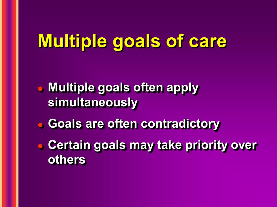 Multiple goals of care l Multiple goals often apply simultaneously l Goals are often contradictory l Certain goals may take priority over others l Mul