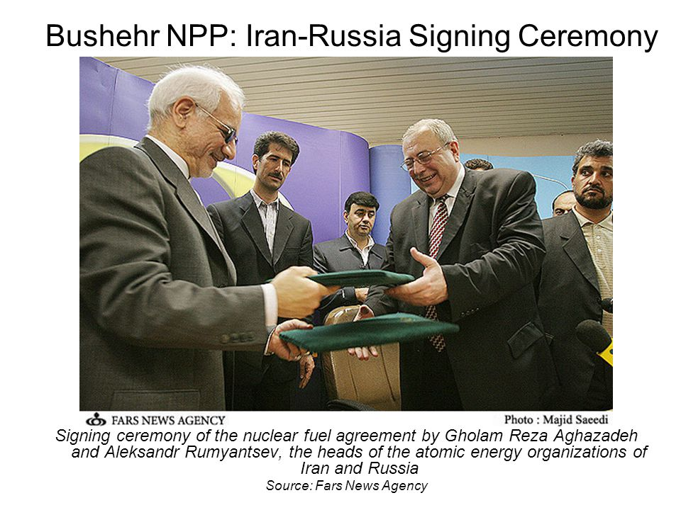 Bushehr NPP: Iran-Russia Signing Ceremony Signing ceremony of the nuclear fuel agreement by Gholam Reza Aghazadeh and Aleksandr Rumyantsev, the heads