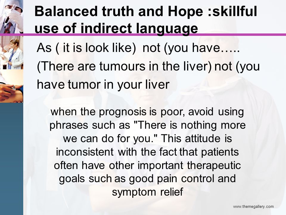 Balanced truth and Hope :skillful use of indirect language As ( it is look like) not (you have….. (There are tumours in the liver) not (you have tumor