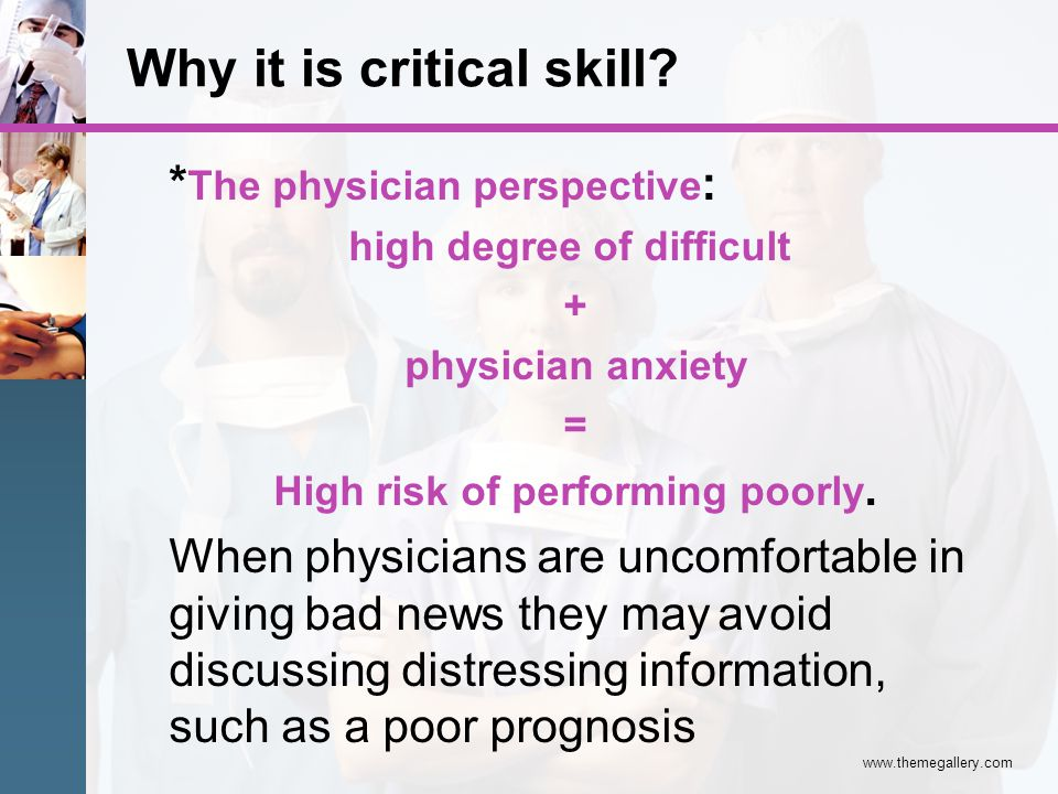 www.themegallery.com :* The physician perspective high degree of difficult + physician anxiety = High risk of performing poorly. When physicians are u